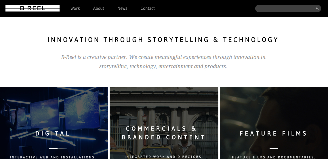 breel top class web design firm homepage