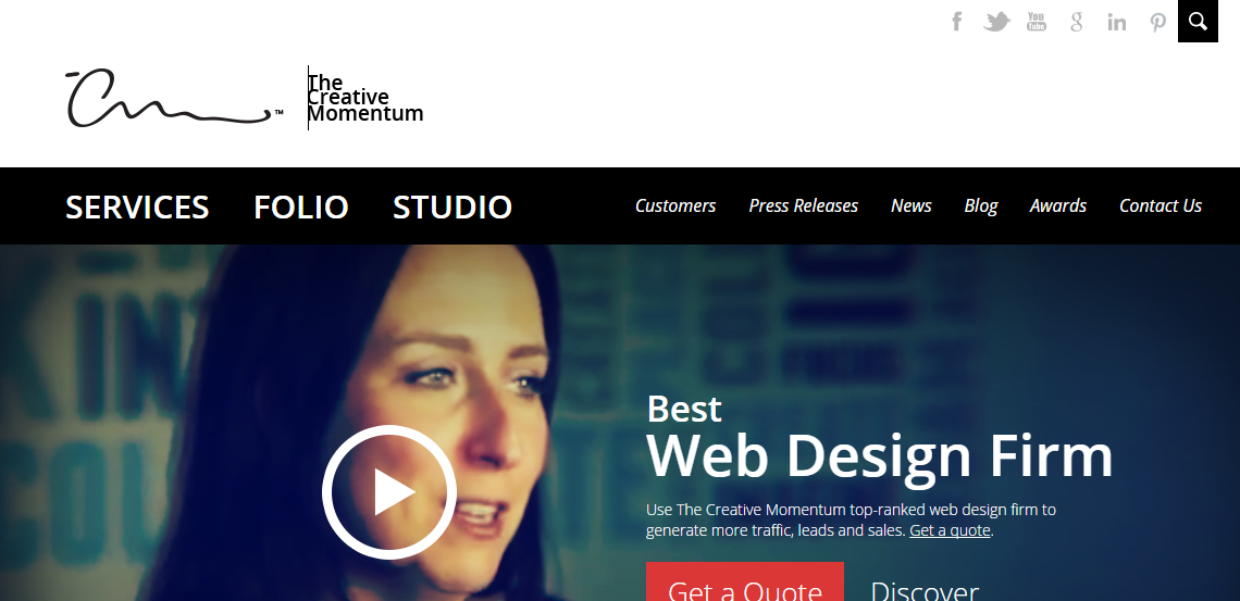 the creative momentum awesome custom web design homepage