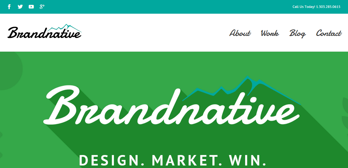 brandnative excellence in web design homepage
