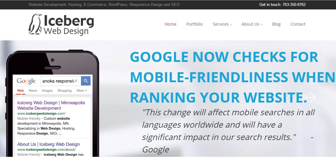 iceberg superb web design firm homepage