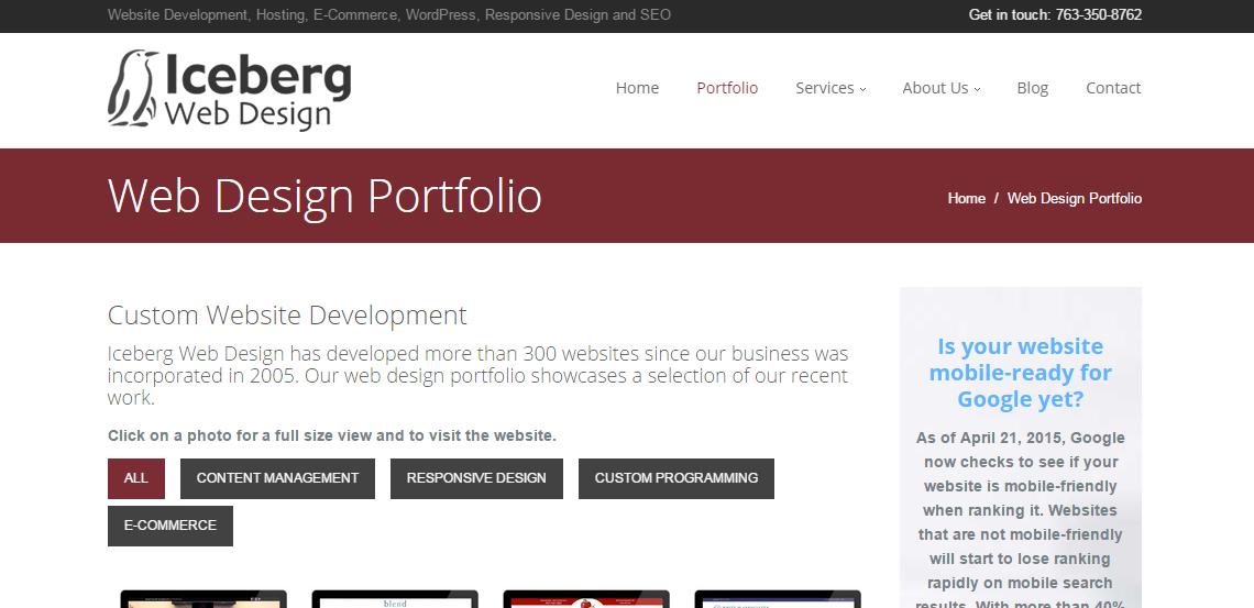 iceberg superb web design firm portfolio