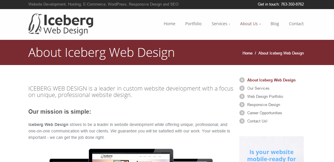 iceberg superb web design firm about
