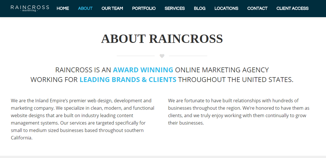 raincross marketing top grade web design firm about us