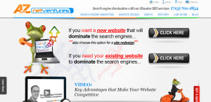 A to Z Net Ventures prime web design firm homepage