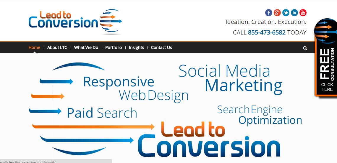 lead to conversion outstand seo web design firm homepage