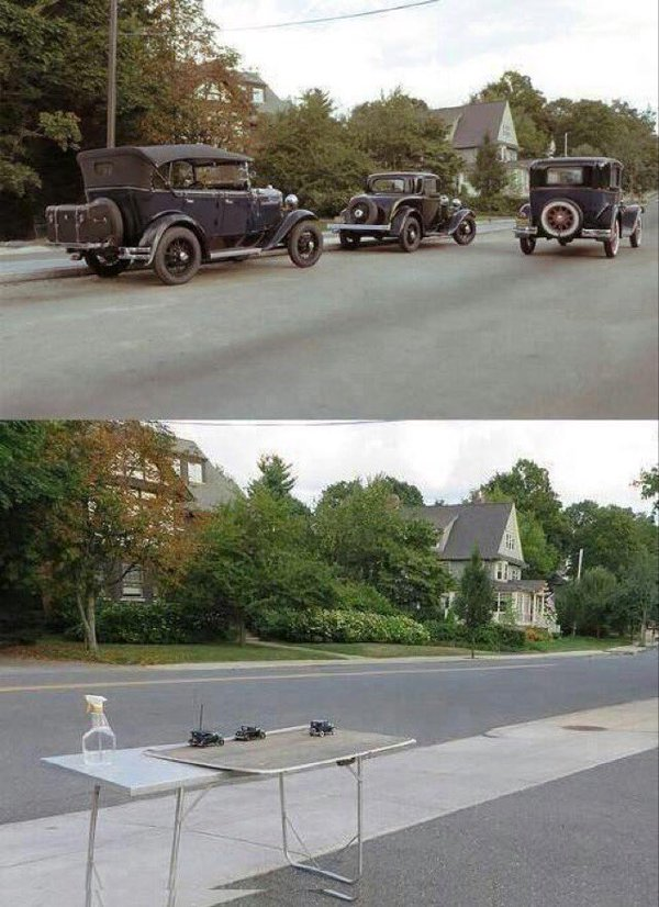 cars, illusion, perspective
