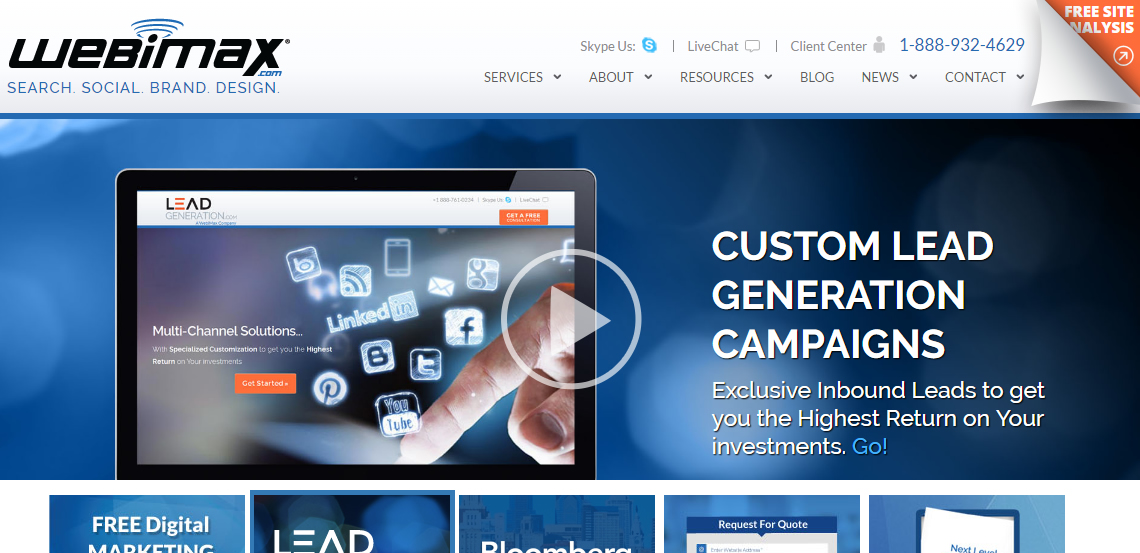 webimax first class web design homepage