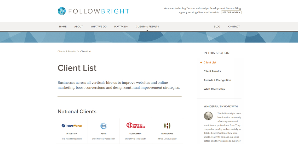 followbright expert web design firm clients