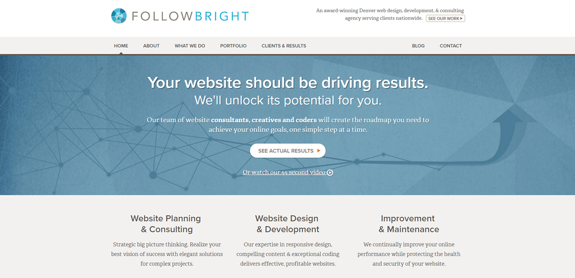 followbright expert web design firm homepage