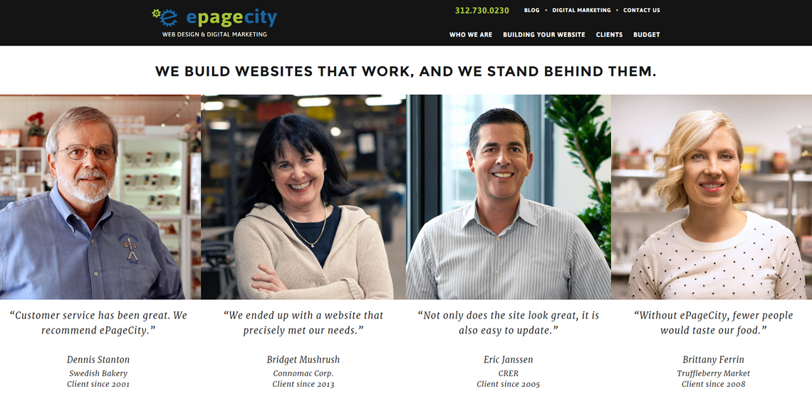 epagecity awesome web design firm homepage