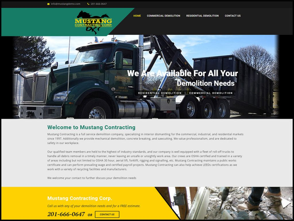 mustang-demolition-nj-website-design