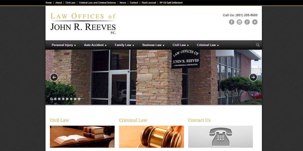 Attorney John R Reeves Law Firm Website Design