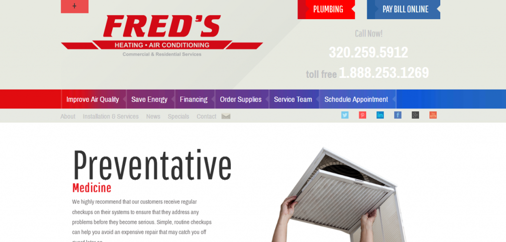 Fred's Heating & Air | Website