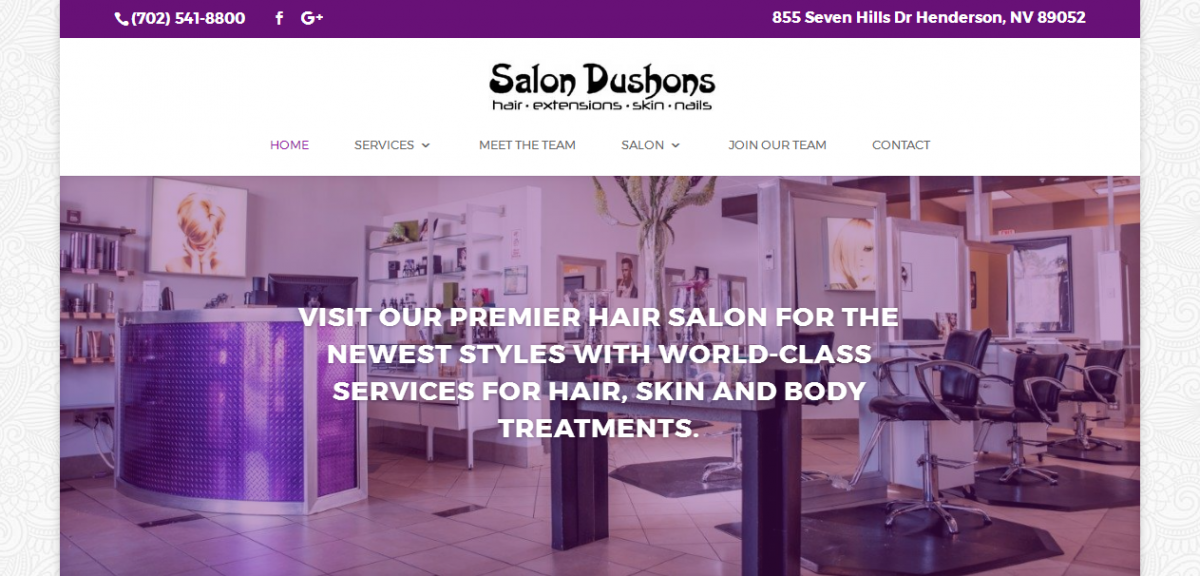 Website design for Henderson hair salon