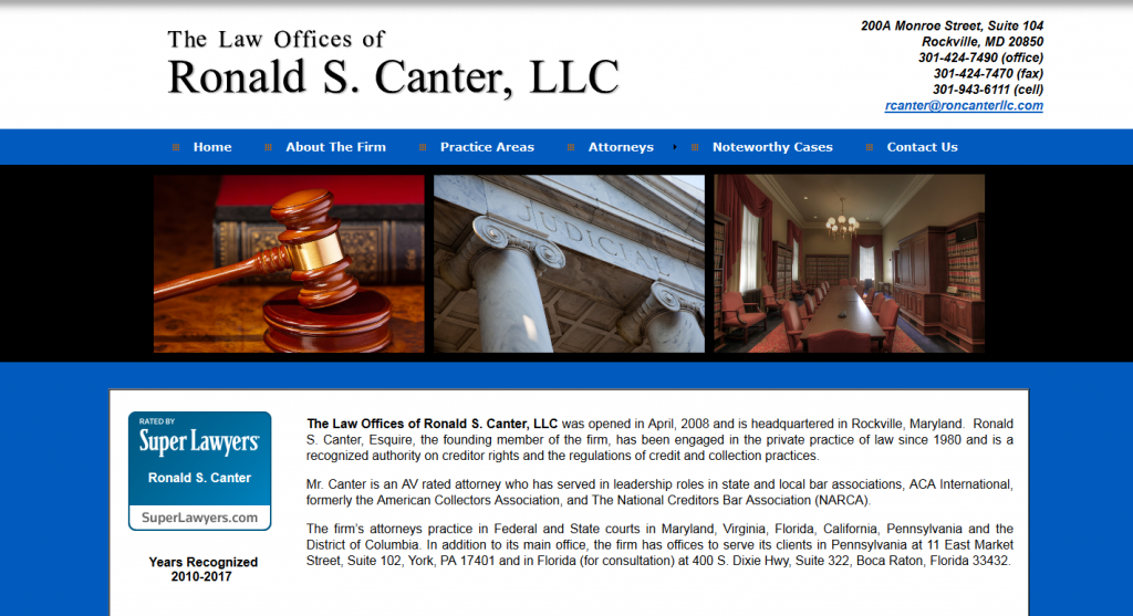 Ronald S. Canter Years Recognized 2010-2017 The Law Offices of Ronald S. Canter, LLC