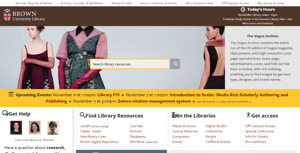 Brown University Library Website