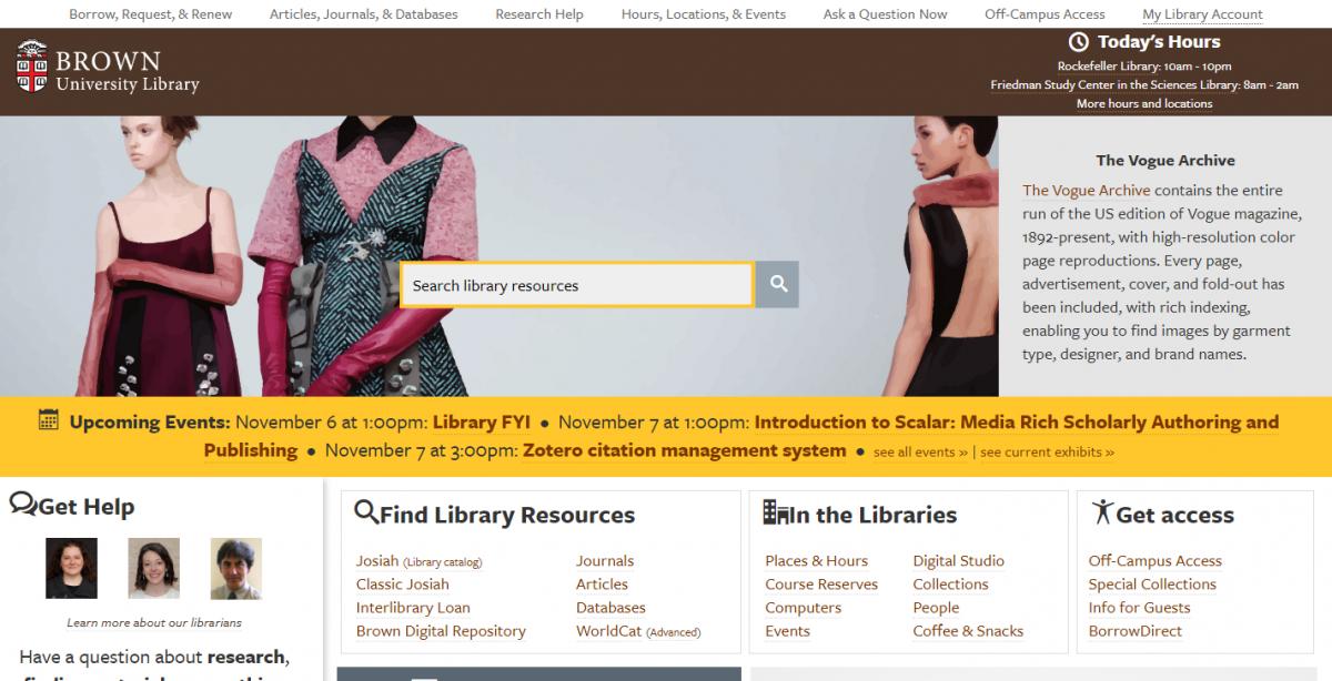 Brown University Library Website