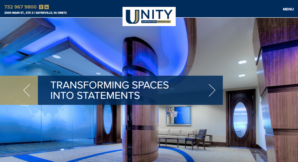 website design for unity construction group