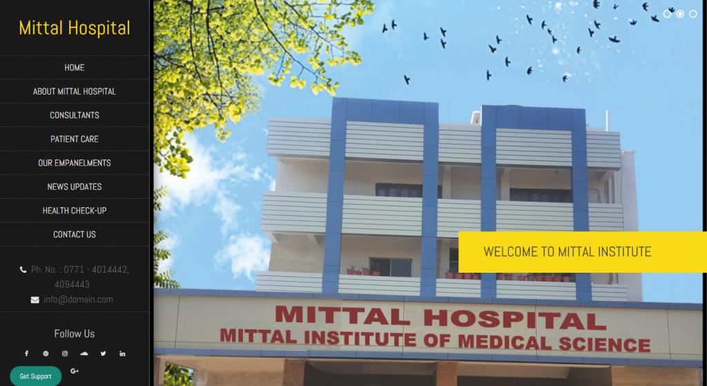 Mittal Hospital Website based on WordPress