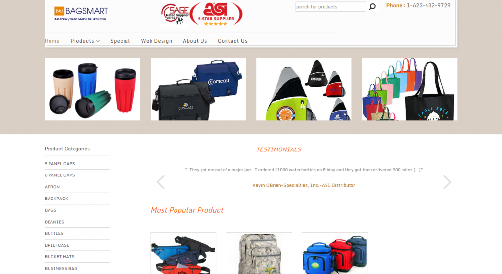 Bags Mart website based on WordPress