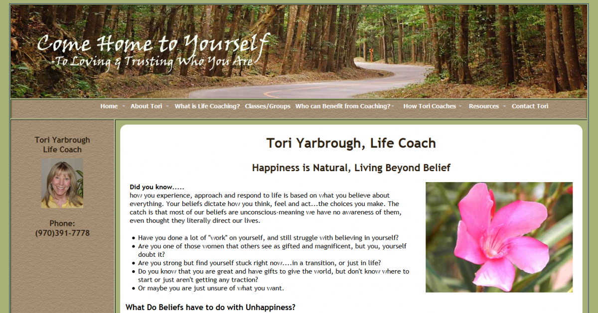 Tori Yarbrough, Life Coach