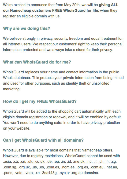 free whois privacy for life